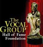 Logo for the Vocal Group Hall of Fame over a red curtain